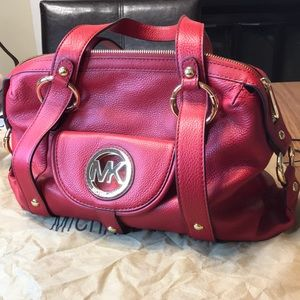 Michael Kors Red Leather Satchel